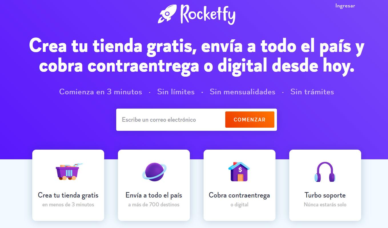 Pagina de inicio Rocketfy