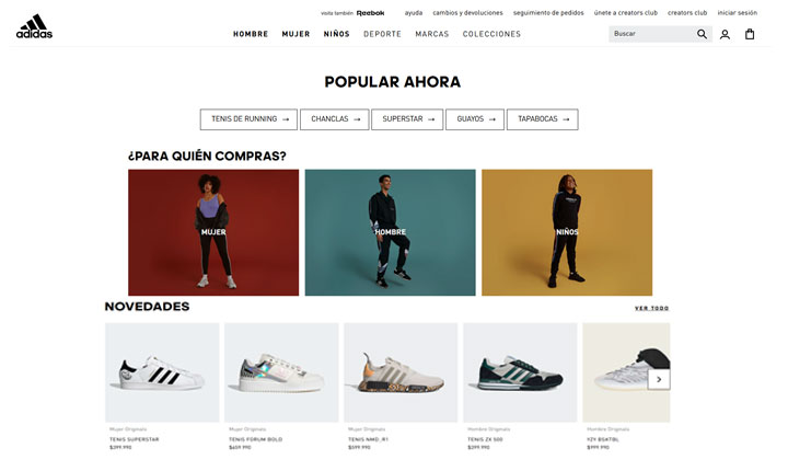 Adidas eCommerce de deportes