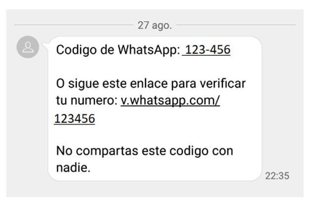 Codigo de verificación Whatsapp